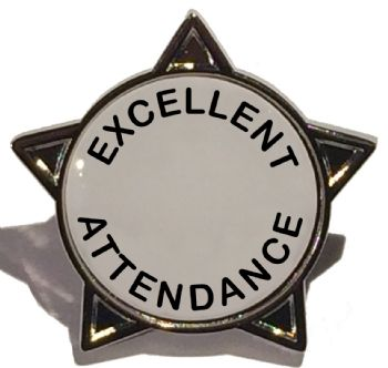EXCELLENT ATTENDANCE titled star badge